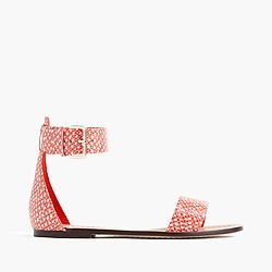 Ankle-strap sandals in snakeskin-printed leather