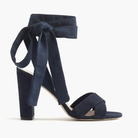 Suede sandals with ankle wraps