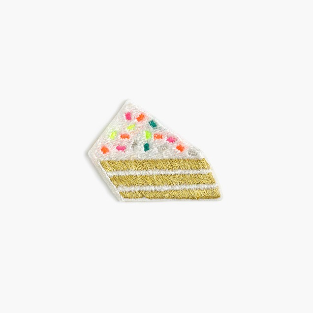 Kids' cake slice iron-on critter patch