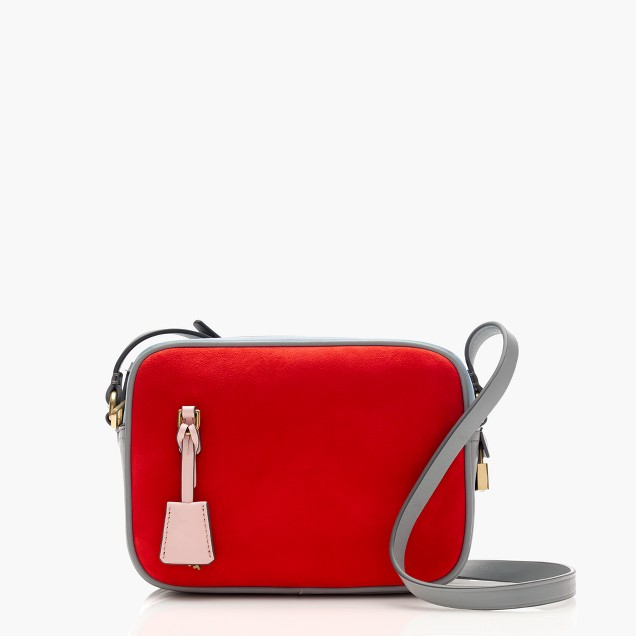 Signet bag in colorblock Italian suede and leather
