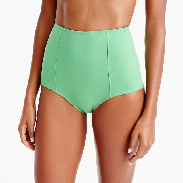 High-waisted bikini bottom in Italian matte