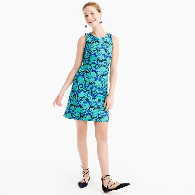 Petite A-line dress in vineyard jacquard