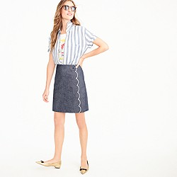 Petite scalloped skirt in chambray