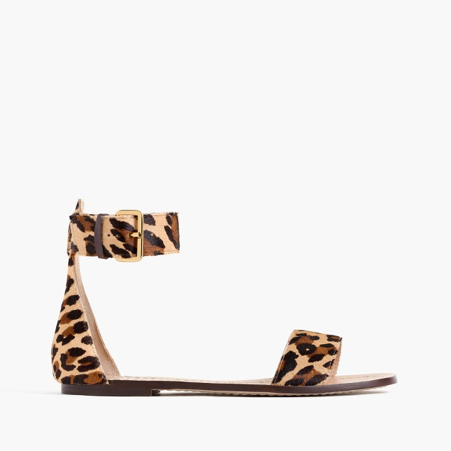 Ankle-strap sandals in calf hair