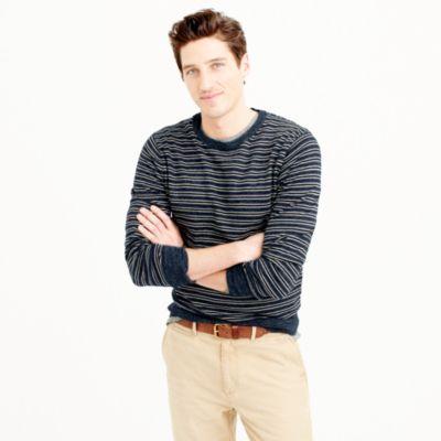 Rugged cotton crewneck sweater in navy stripe