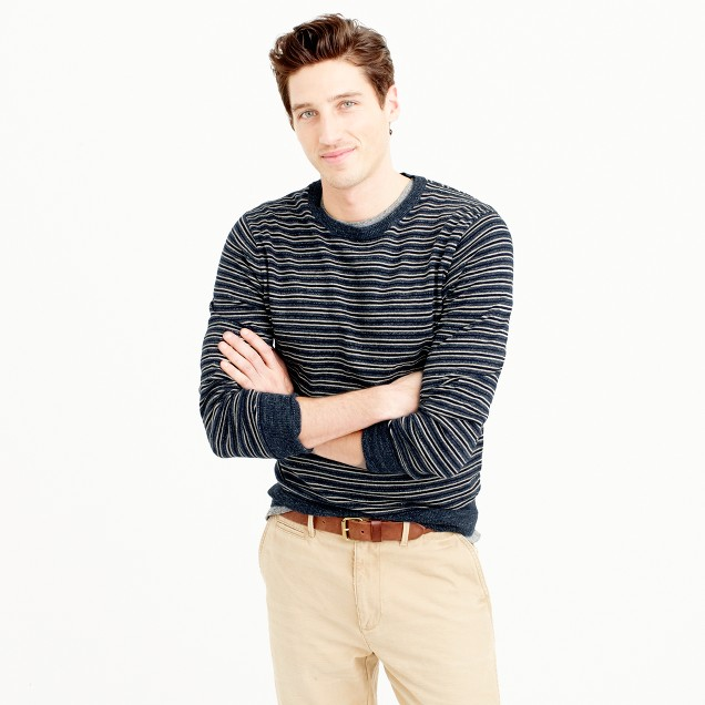 Rugged cotton crewneck sweater in navy stripe