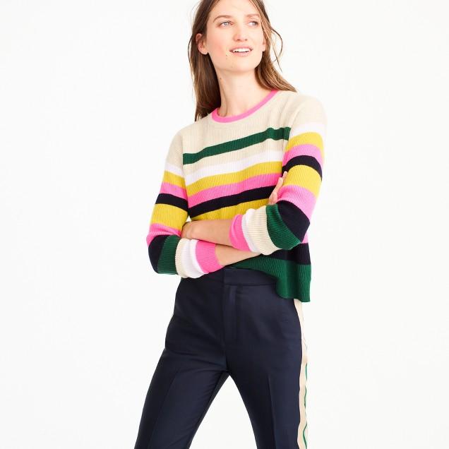 Pop-stripe Italian cashmere sweater