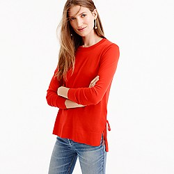 Side-slit sweater with ties