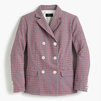 Double-breasted blazer in red tattersall