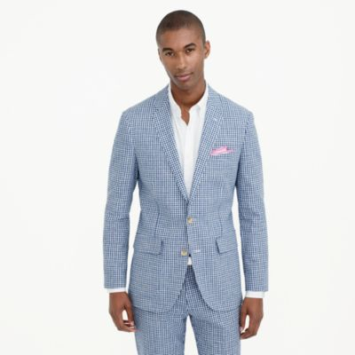 Ludlow suit jacket in gingham linen-cotton