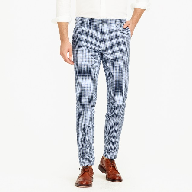 Ludlow suit pant in gingham linen-cotton