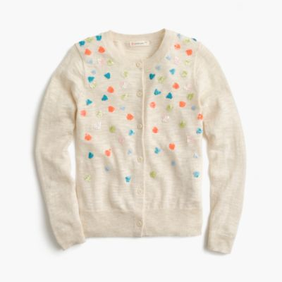 Girls' sequin confetti cardigan sweater