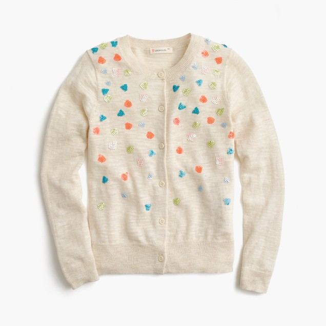 Girls' sequin confetti cardigan sweater