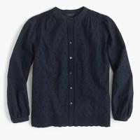 Eyelet button-up shirt