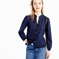 Petite eyelet button-up shirt