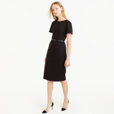 Gathered-sleeve dress in two-way stretch cotton