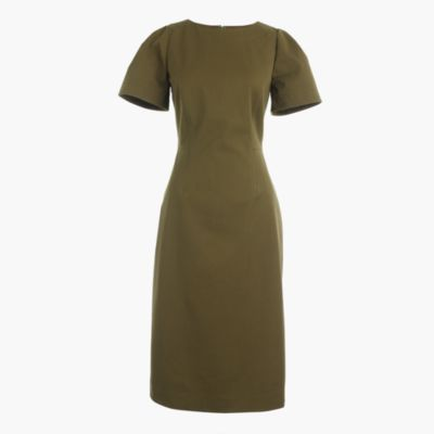 Tall gathered-sleeve dress in two-way stretch cotton