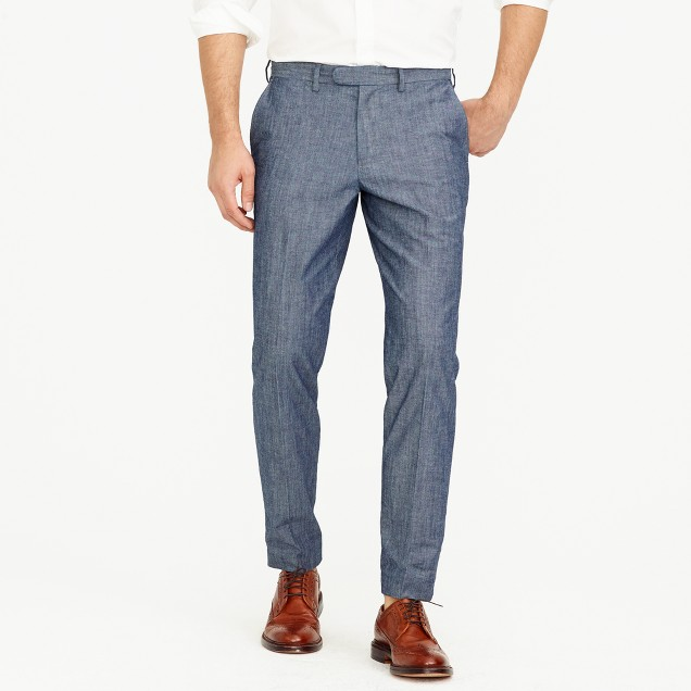 Bowery slim pant in chambray
