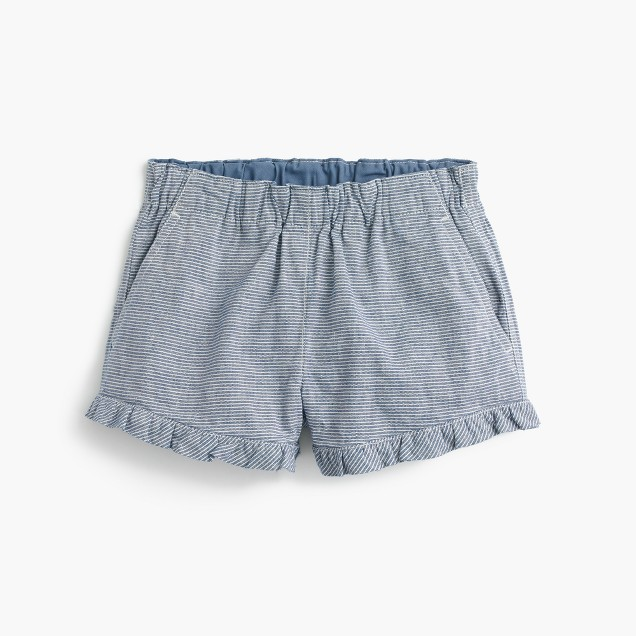 Girls' pull-on ruffle short in railroad stripe