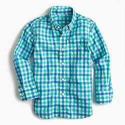 Kids' Secret Wash shirt in blue-green gingham