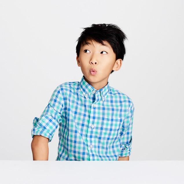Kids' Secret Wash shirt in blue-green gingham