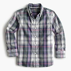 Kids' oxford cotton shirt in purple plaid