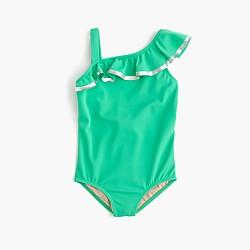 Girls' one-piece ruffle swimsuit