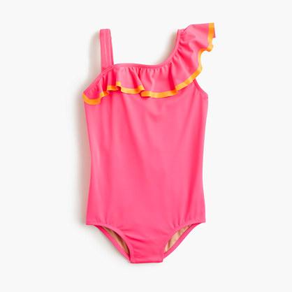 Girls' ruffle one-piece swimsuit in neon