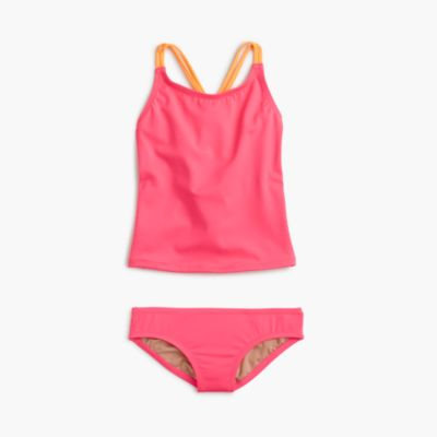 Girls' tankini set in neon