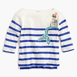 Girls' striped sequin mermaid T-shirt