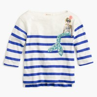 Girls' striped sequin mermaid T-shirt
