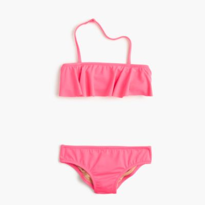 Girls' ruffle bikini set in neon