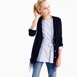 Tulle-hem cardigan sweater