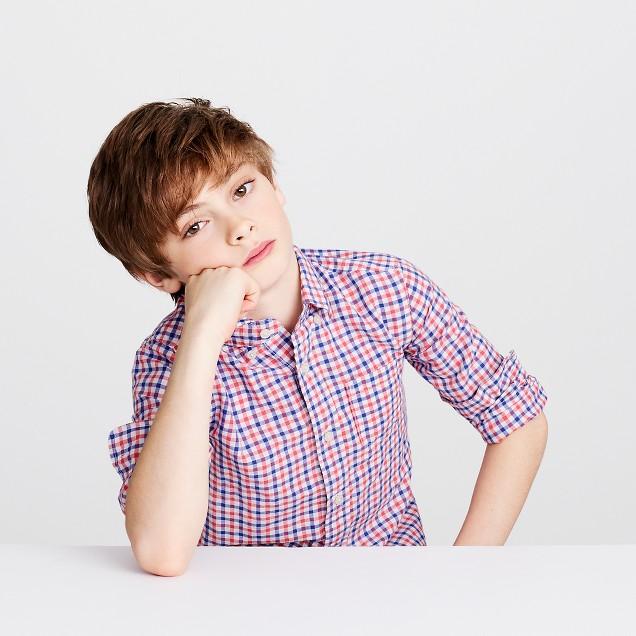 Kids' linen-cotton shirt in mini check