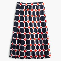 Collection pleated silk skirt in Ratti® geo print