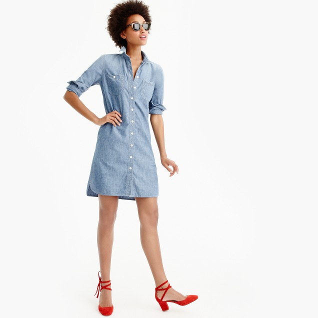 Long-sleeve chambray shirtdress