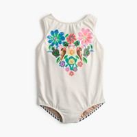 Girls' one-piece swimsuit in animal heart