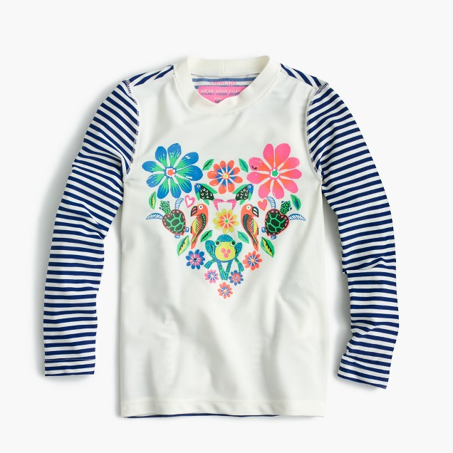 Girls' rash guard in animal heart