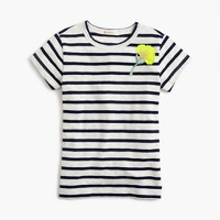 Girls' striped embellished sparkle-flower T-shirt