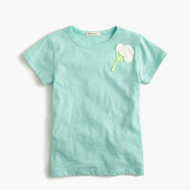 Girls' embellished sparkle-flower T-shirt