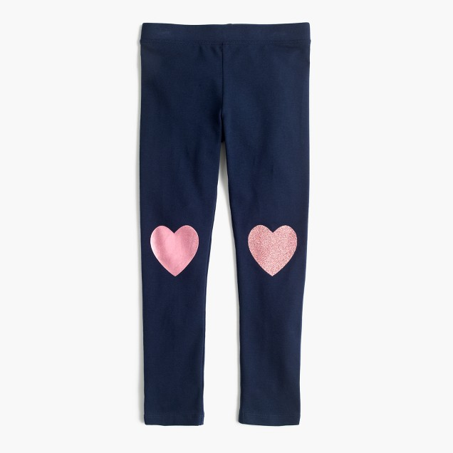 Girls' everyday leggings with metallic heart patches