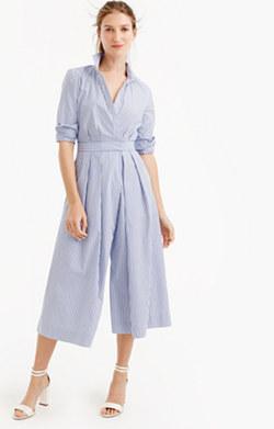 Wide-leg jumpsuit in shirting stripe