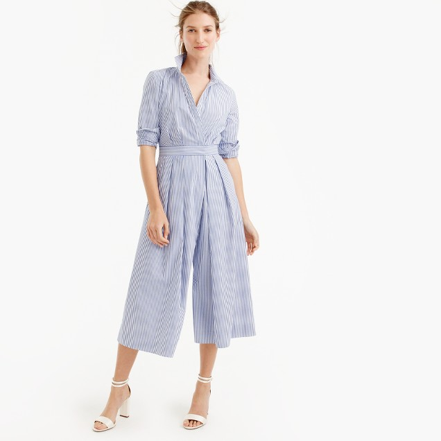 Wide-leg jumpsuit in shirting stripe