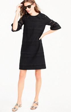 Flutter-sleeve shift dress in eyelet