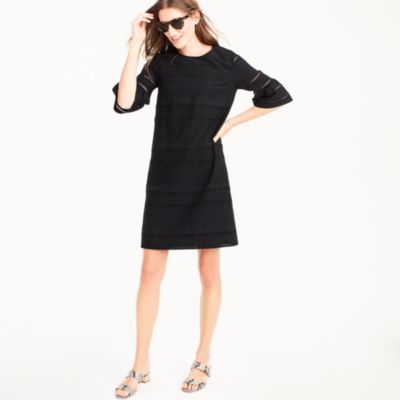 Petite flutter-sleeve shift dress in eyelet