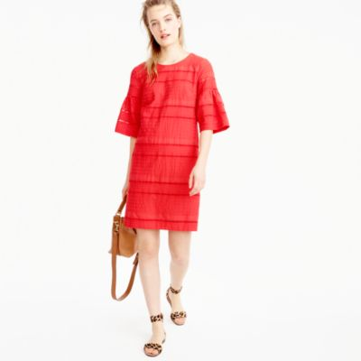 Flutter-sleeve shift dress in eyelet