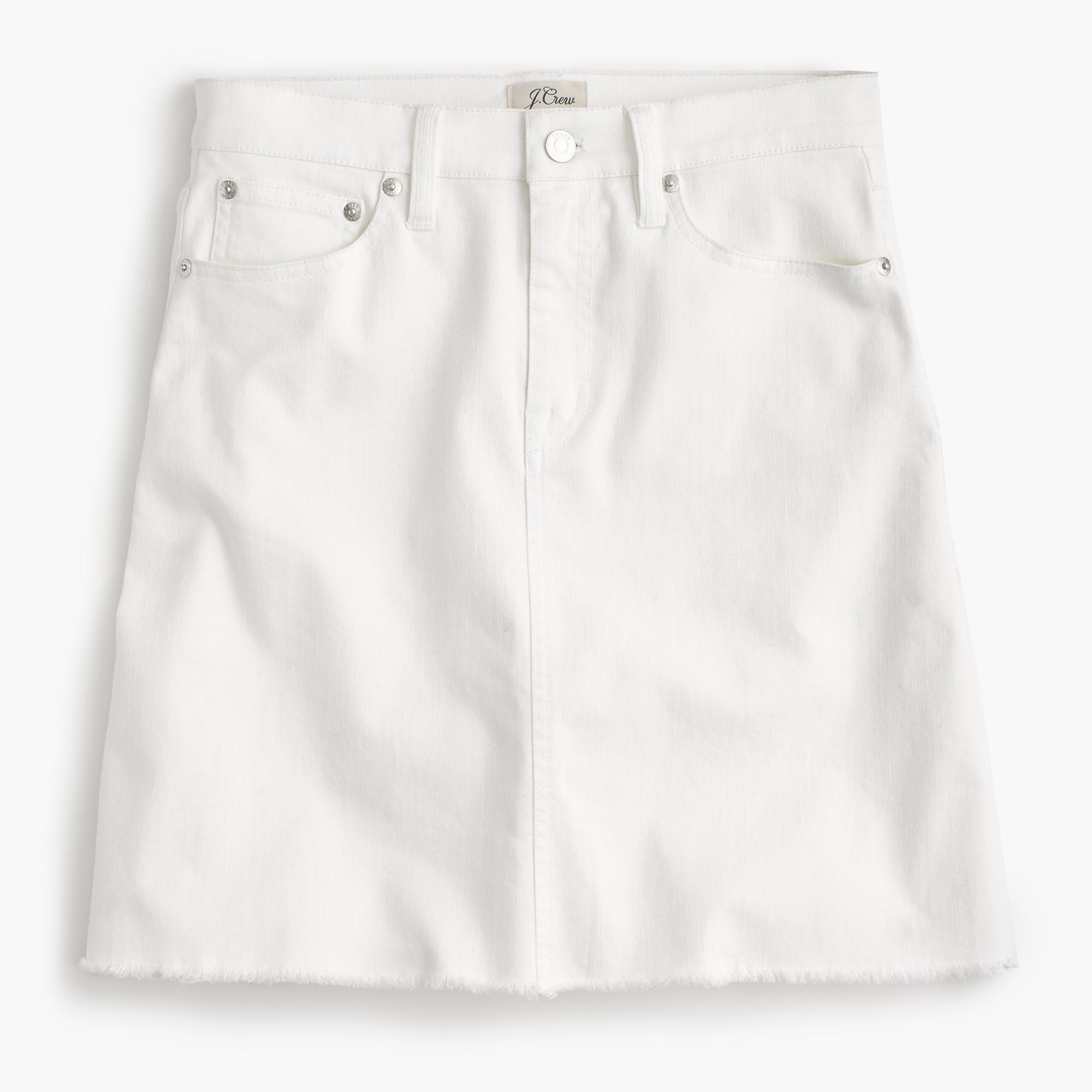 White denim skirt with raw hem : Women denim | J.Crew
