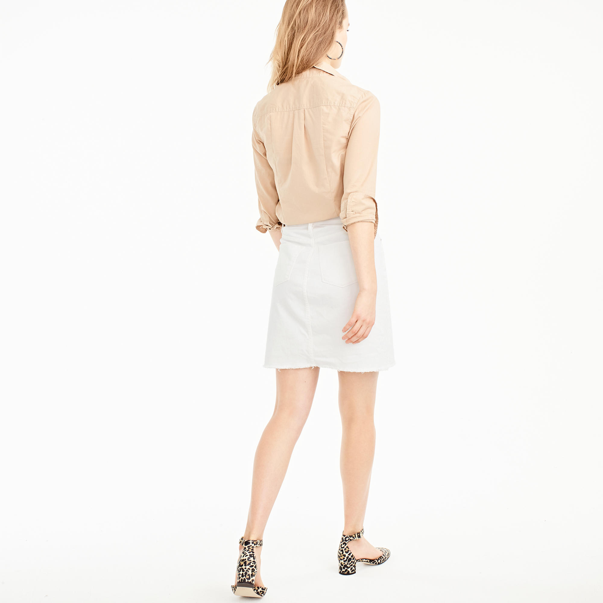 White denim skirt with raw hem : Women denim | J.Crew