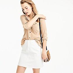 Petite white denim skirt with raw hem
