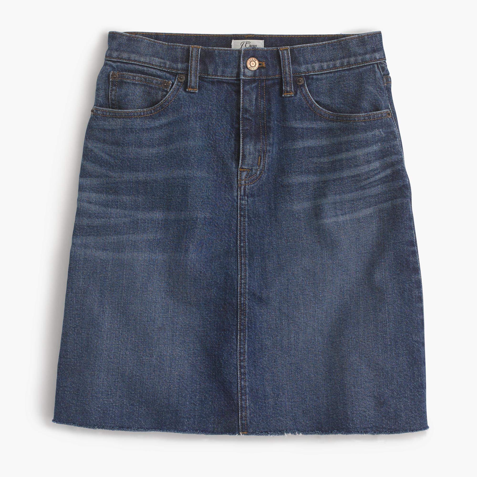 Denim skirt with raw hem : Women denim | J.Crew